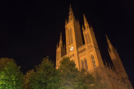 tourisms: market church wiesbaden at night