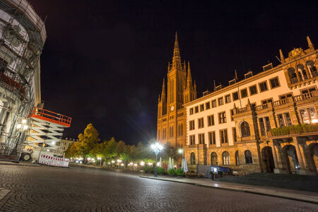 tourisms: city hall wiesbaden at night