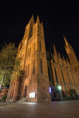 tourisms: market church wiesbaden at night