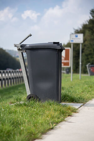 highway resting place trash can photo