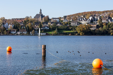 ruhr: harkort lake in front of wetter ruhr germany