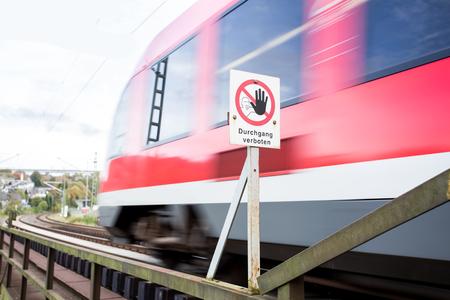 german danger railway sign