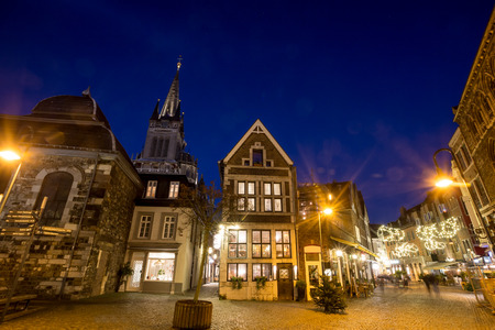 old city: aachen old city in the evening Stock Photo