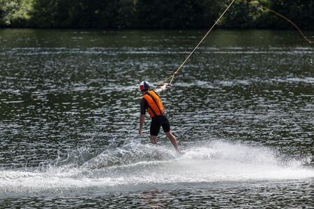 wakeboarding: wakeboarding on a lake