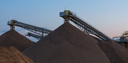 gravel plant in the evening Stock Photo