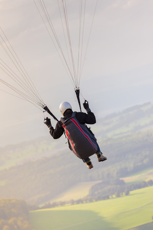 paraglider in the sky rope view
