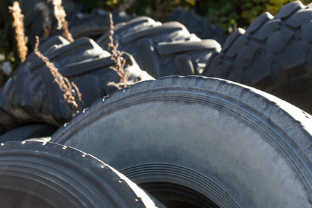 landfill site: used car tires Stock Photo