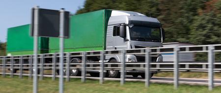 truck on highway speed blur