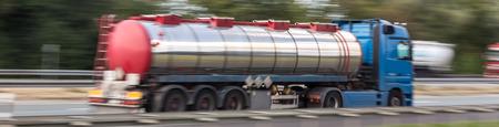 gasoline transportation truck on highway speed blur