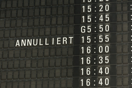 departure: german airport departure board canceled information Stock Photo