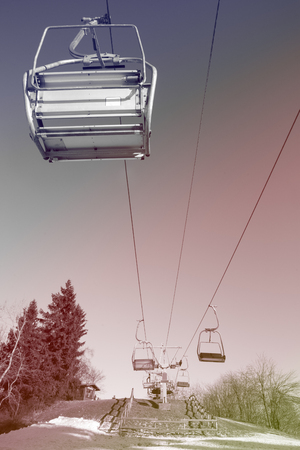 chairlift: colorful empty skiing chairlift