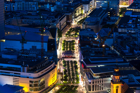 frankfurt cityscape from above at night
