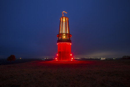 geleucht mining statue moers germany at night