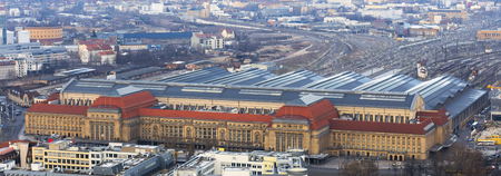 leipzig germany central train station from above