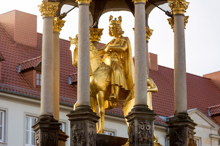 golden horse rider statue in magdeburg germany Stock Photo