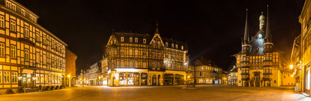 historic wenigerode at night high definition panorama Standard-Bild - 96858363