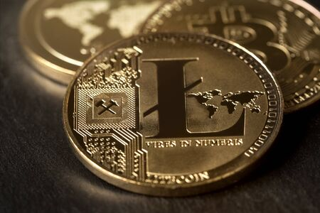 litecoin in front of other crypto coins Фото со стока