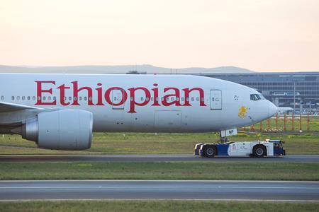 frankfurt, hesse/germany - 29 04 18: ethiopian airlines airplane at frankfurt airport germany