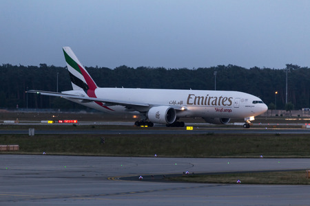 frankfurt, hessegermany - 18 05 18: emirates cargo airplane at frankfurt airport germany