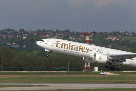 budapest, budapesthungary - 24 04 18: emirates airlines airplane starting at budapest airport hungary