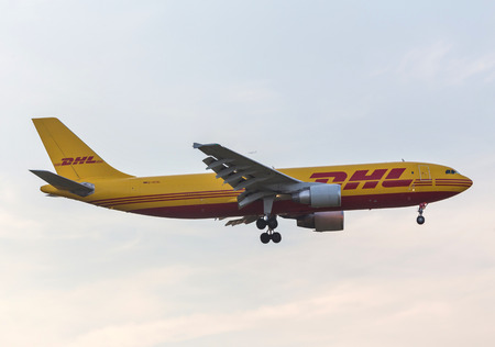frankfurt, hessegermany - 18 05 18: dhl cargo airplanes landing at frankfurt airport germany