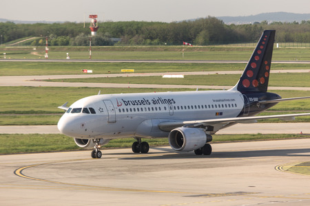 budapest, budapest/hungary - 24 04 18: brussels airlines airplane at budapest airport hungary