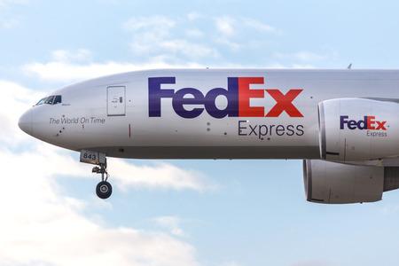 frankfurt, hesse/germany - 25 06 18: fed ex cargo airplane landing at frankfurt airport germany