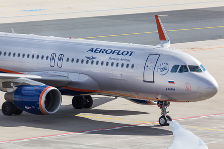 frankfurt, hesse/germany - 25 06 18: russian aeroflot airplane on ground at frankfurt airport germany