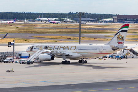 frankfurt, hessegermany - 25 06 18: etihad airlines airplane on ground at frankfurt airport germany
