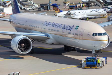 frankfurt, hesse/germany - 25 06 18: saudi arabia airplane at frankfurt airport germany