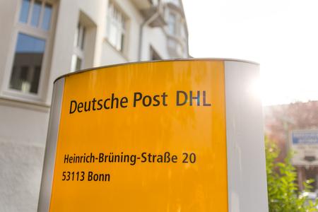 bonn, North Rhine-Westphaliagermany - 19 10 18: deutsche post dhl sign in  in bonn germany