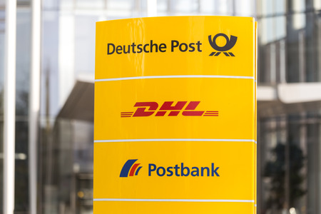 bonn, North Rhine-Westphaliagermany - 19 10 18: deutsche post sign in bonn germany