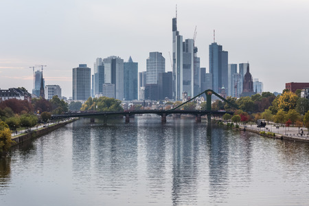 frankfurt am main germany autumn blues skyline