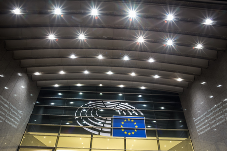 european parliament brussels belgium at night Redactioneel