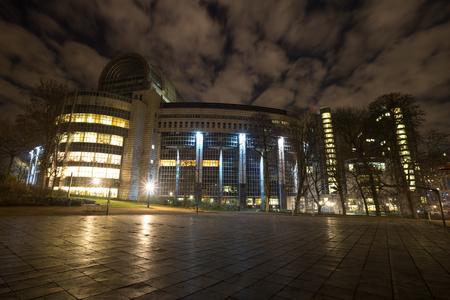 european parliament brussels belgium at night Stockfoto