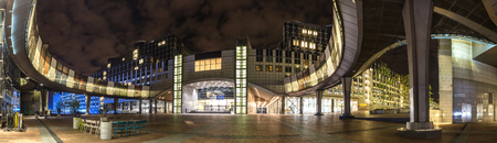 european parliament brussels belgium at night high definition panorama Editorial