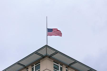 american flag on an american Embassy