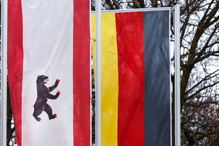 an berliner and a an german flag Stockfoto
