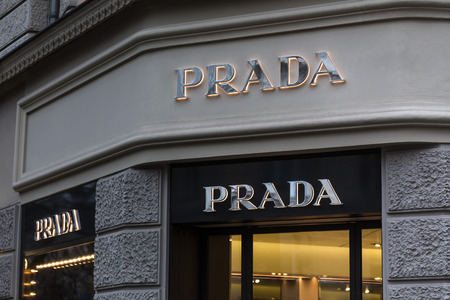 berlin, berlin/germany - 23 12 18: prada store sign in berlin germany Stock Photo - 117153494