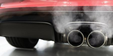 car exhaust smoking panorama Stockfoto