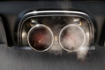 car Exhaust in full speed smoking