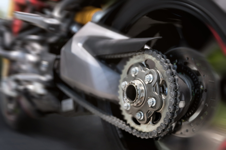 motorcycle back tire in full speed composing Stockfoto