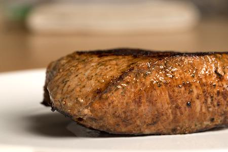 delicious medium steak on a plate