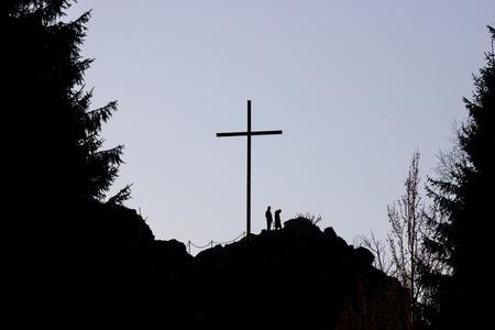 summit cross with people Stockfoto