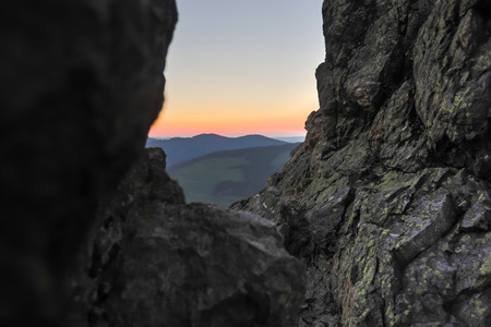 a stony hill in the evening Stockfoto