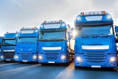 blue trucks in line composing Stok Fotoğraf