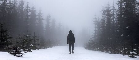 wanderer in an foggy winter landscape panorama Stockfoto - 126523690