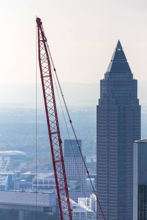 frankfurt germany with an construction crane Stockfoto
