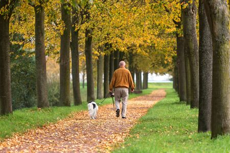 man walking with his dog on an autumn path Stockfoto