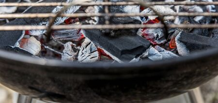 hot Barbecue charcoal on the grill